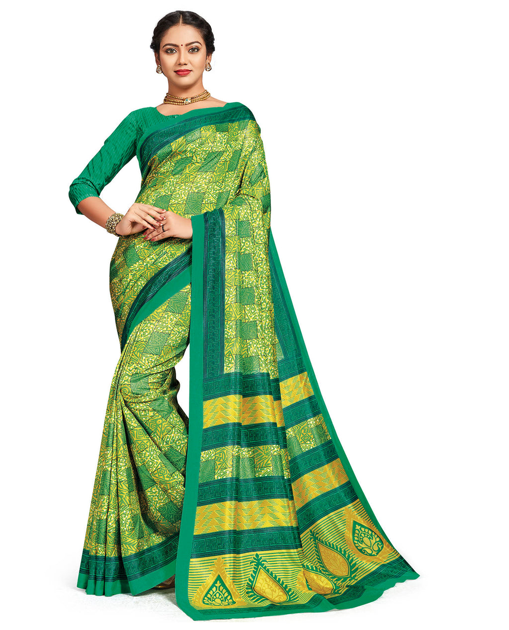 Green Color Crepe Daily Wear Printed Sarees NYF-7803