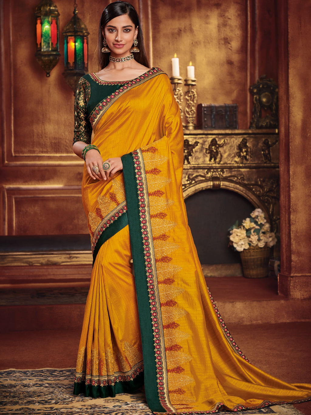 Yellow Color Two Tone Silk Gorgeous Festive Sarees NYF-5587