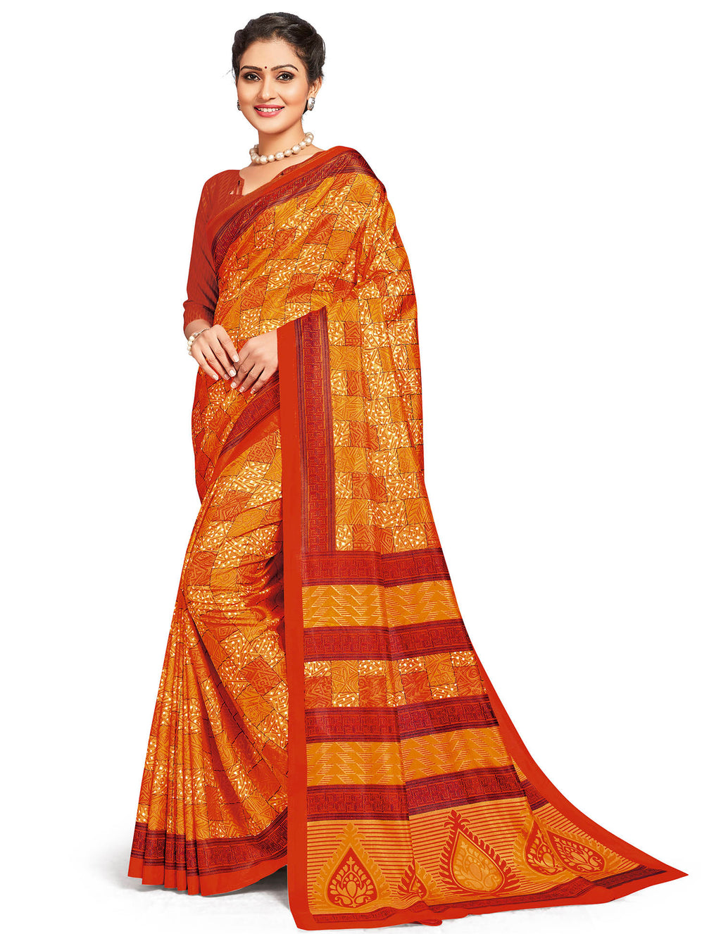 Orange Color Crepe Daily Wear Printed Sarees NYF-7804
