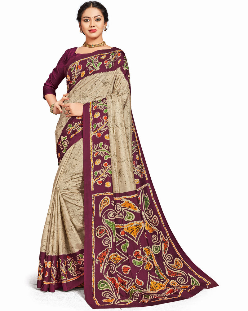 Cream Color Crepe Daily Wear Printed Sarees NYF-7805
