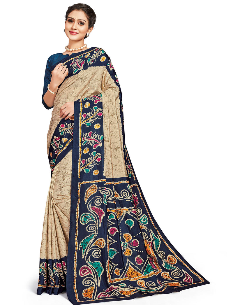 Cream & Blue Color Crepe Daily Wear Printed Sarees NYF-7806