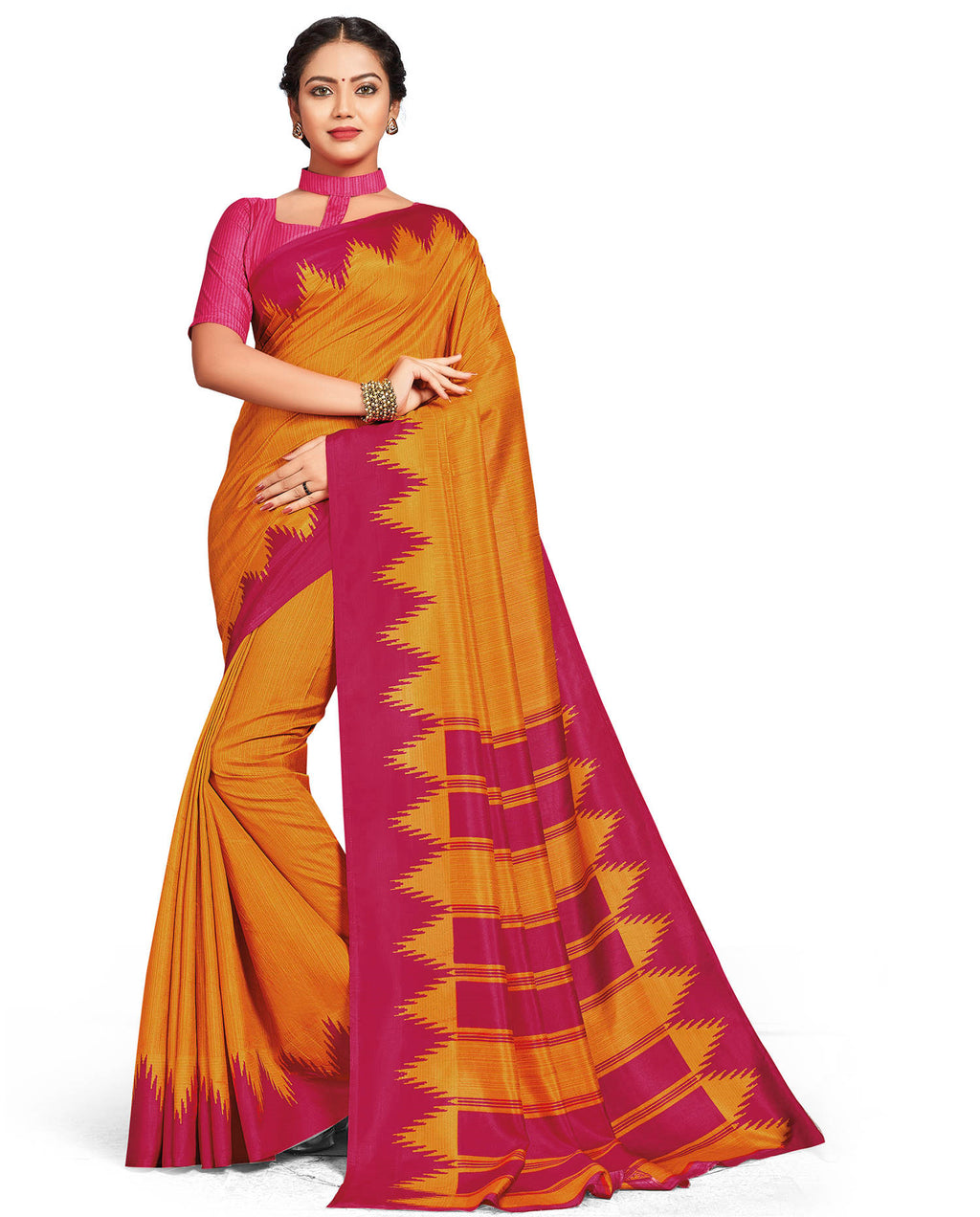 Yellow Color Crepe Daily Wear Printed Sarees NYF-7807