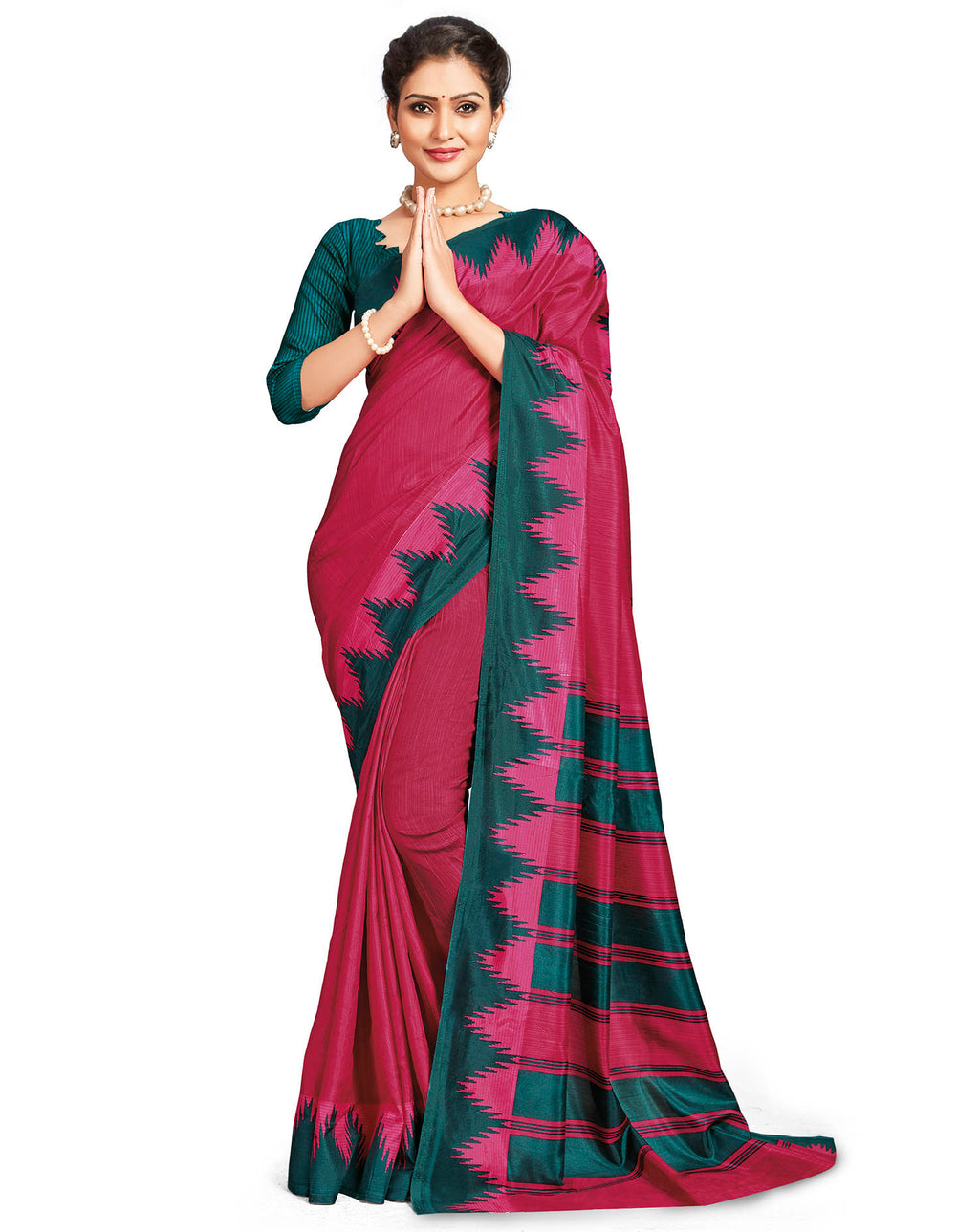 Pink Color Crepe Daily Wear Printed Sarees NYF-7808