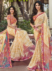 Cream & Yellow Color Georgette Casual Party Sarees : Vrushti Collection  YF-54819