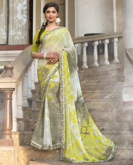 Shades Of Green Color Georgette Casual Party Sarees : Vrushti Collection  YF-54820