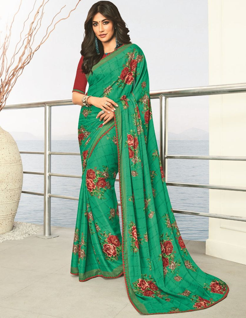 Green Color Georgette Printed Party Wear Sarees NYF-5177