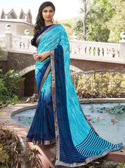 Aqua Blue & Blue Color Georgette Casual Party Sarees : Vrushti Collection  YF-54833