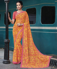 Yellow & Pink Color Georgette Casual Wear Sarees : Vibhavna Collection  YF-52817