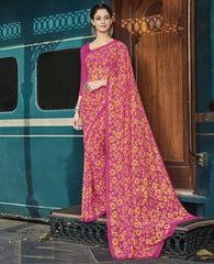 Pink & Yellow Color Georgette Casual Wear Sarees : Vibhavna Collection  YF-52818