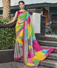 Grey & Pink Color Georgette Casual Wear Sarees : Vibhavna Collection  YF-52821