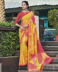 Yellow & Pink Color Georgette Casual Wear Sarees : Vibhavna Collection  YF-52822