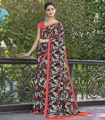 Black, White & Pink Color Georgette Casual Wear Sarees : Vibhavna Collection  YF-52824