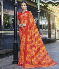 Orange, Yellow & Pink Color Georgette Casual Wear Sarees : Vibhavna Collection  YF-52826