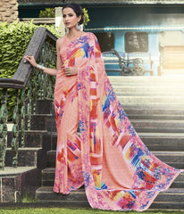 Pink Color Georgette Casual Wear Sarees : Vibhavna Collection  YF-52829