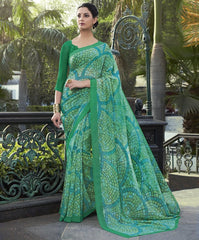 Green Color Georgette Casual Wear Sarees : Vibhavna Collection  YF-52839