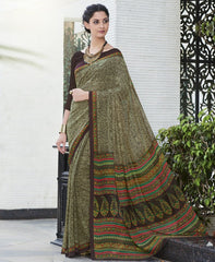 Mehendi Green & Brown Color Georgette Casual Wear Sarees : Vibhavna Collection  YF-52840