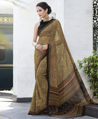 Yellow & Black Color Georgette Casual Wear Sarees : Vibhavna Collection  YF-52842
