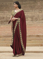 Mahroon  Colour Wrinkle Chiffon Material Sarees : Eternal Collection -  YF-7665