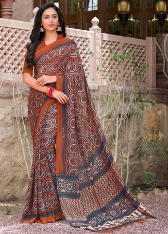 Brown Color Georgette Party Wear Sarees : Sneya Collection  YF-55877