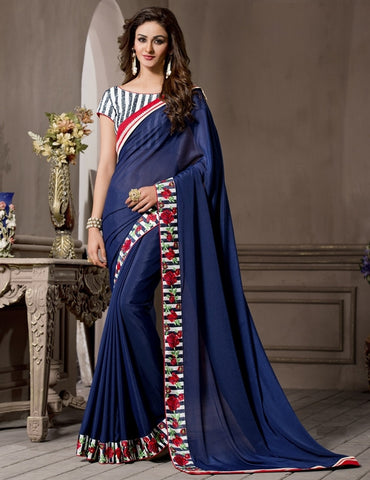 Blue Color Georgette Designer Wedding Function Wear Sarees : Navriti Collection  YF-44279