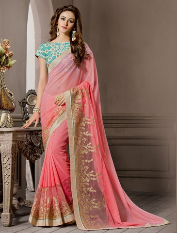 Pink Color Georgette Designer Wedding Function Wear Sarees : Navriti Collection  YF-44280