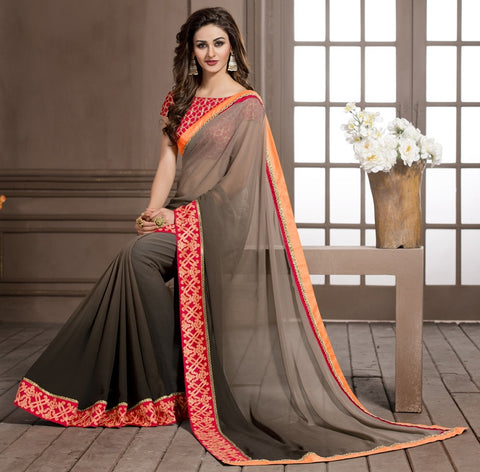 Shades Of Brown Color Georgette Designer Wedding Function Wear Sarees : Navriti Collection  YF-44281