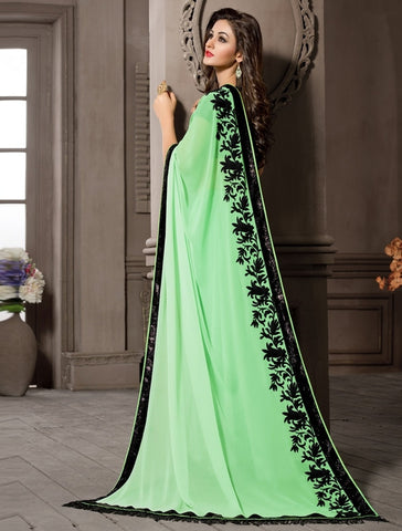 Pastle Green Color Georgette Designer Wedding Function Wear Sarees : Navriti Collection  YF-44282