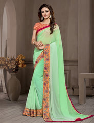 Pearl Green Color Georgette Designer Wedding Function Wear Sarees : Navriti Collection  YF-44283