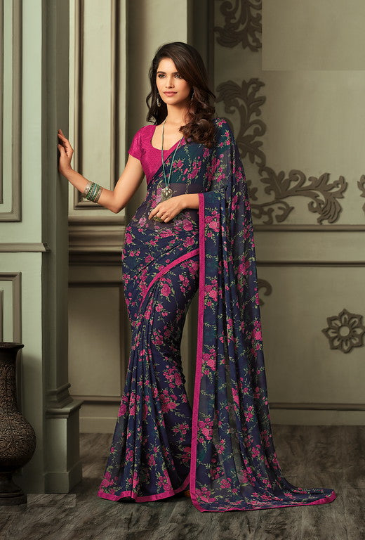 Navy Blue and Pink Color Georgette Casual Wear saree -Dahlia Collection YF#10192