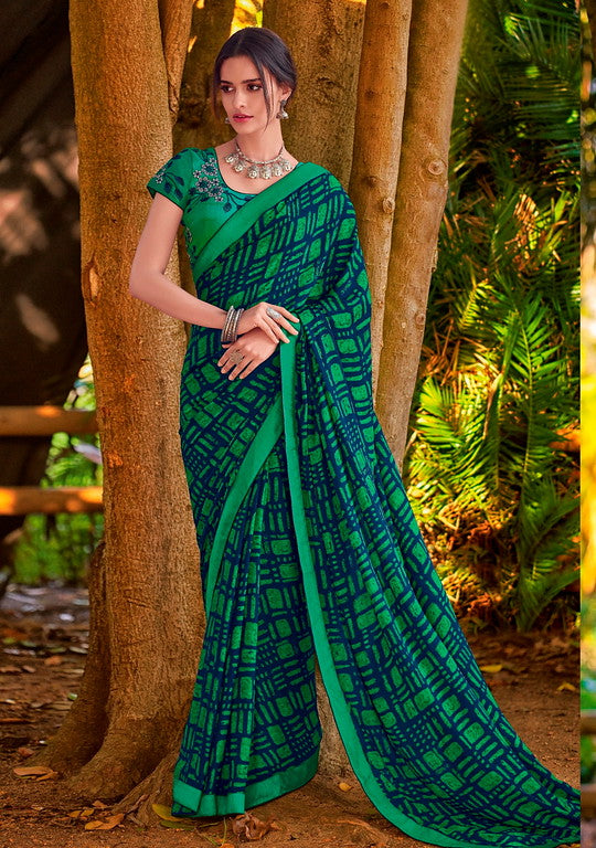 Navy Blue and Rama Green Color Georgette Casual Wear Saree-  Orchid Collection  YF#11501