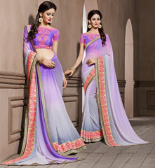 Lavender Color Georgette Designer Wedding Function Wear Sarees : Navriti Collection  YF-44284