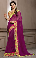 Magenta Color Georgette Designer Wedding Function Wear Sarees : Navriti Collection  YF-44285