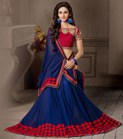 Blue Color Georgette Designer Wedding Function Wear Sarees : Navriti Collection  YF-44286