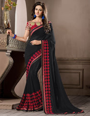 Black Color Georgette Festival & Party Wear Sarees : Pragati Collection  YF-46433