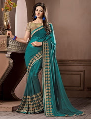 Rama Green Color Georgette Festival & Party Wear Sarees : Pragati Collection  YF-46434
