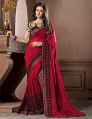 Red Color Georgette Festival & Party Wear Sarees : Pragati Collection  YF-46435