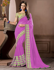 Pink Color Georgette Festival & Party Wear Sarees : Pragati Collection  YF-46436