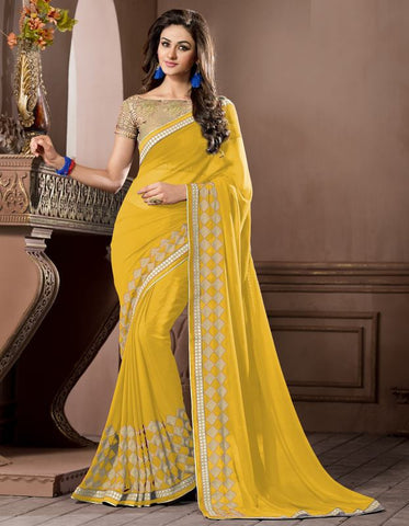 Yellow Color Georgette Festival & Party Wear Sarees : Pragati Collection  YF-46437