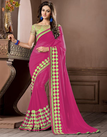 Rani Pink Color Georgette Festival & Party Wear Sarees : Pragati Collection  YF-46438