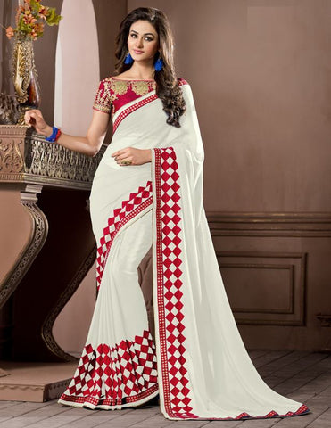 White Color Georgette Festival & Party Wear Sarees : Pragati Collection  YF-46439