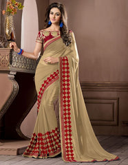 Light Coffee Color Georgette Festival & Party Wear Sarees : Pragati Collection  YF-46440