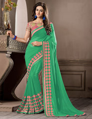 Green Color Georgette Festival & Party Wear Sarees : Pragati Collection  YF-46441