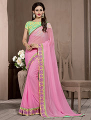 Pink Color Georgette Designer Wedding Function Wear Sarees : Navriti Collection  YF-44287