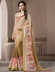 Tobacoo & Pink Color Georgette Designer Wedding Function Wear Sarees : Navriti Collection  YF-44288