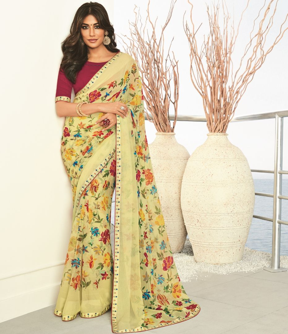 Pastel Yellow Color Chiffon Printed Party Wear Sarees NYF-5184