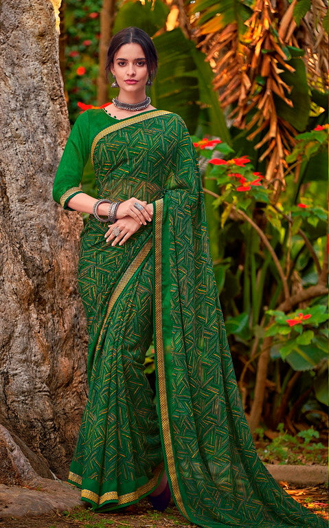 Green Color Georgette Casual Wear Saree-  Orchid Collection  YF#11504