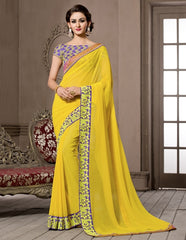 Yellow Color Georgette Designer Wedding Function Wear Sarees : Navriti Collection  YF-44289