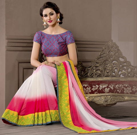 Light & Dark Pink Color Georgette Designer Wedding Function Wear Sarees : Navriti Collection  YF-44290