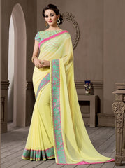 Lemon Yellow Color Georgette Designer Wedding Function Wear Sarees : Navriti Collection  YF-44291