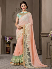 Peach Color Georgette Designer Wedding Function Wear Sarees : Navriti Collection  YF-44292